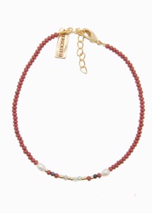 Perle mix gemstone armbånd Bordeaux ByMickleit