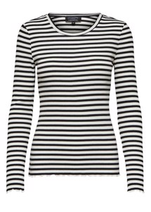 Anna stripe bluse Sort Selected Femme