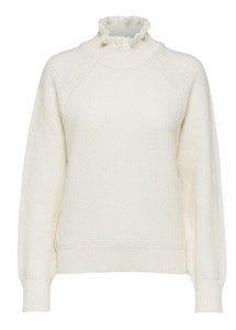 Lolo frill highneck strik Offwhite Selected Femme