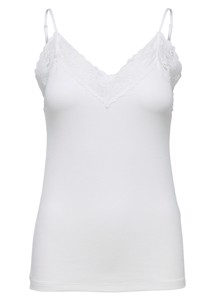 Mio rib lace singlet Offwhite Selected Femme